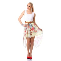 SWEET CHIFFON MINIDRESS WITH LACE AND FLORAL PATTERN WHITE/YELLOW