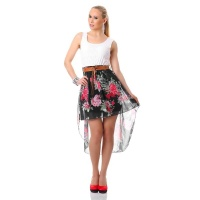 SWEET CHIFFON MINIDRESS WITH LACE AND FLORAL PATTERN WHITE/BLACK