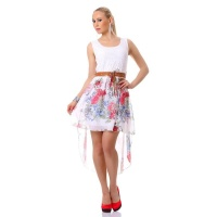 SWEET CHIFFON MINIDRESS WITH LACE AND FLORAL PATTERN WHITE