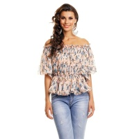 SWEET CHIFFON SHIRT IN CARMEN STYLE WITH FLORAL PATTERN PINK