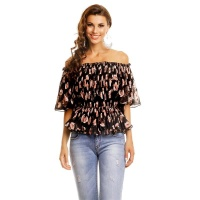 SWEET CHIFFON SHIRT IN CARMEN STYLE WITH FLORAL PATTERN...