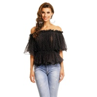 SWEET CHIFFON SHIRT IN CARMEN STYLE WITH POLKA DOTS BLACK