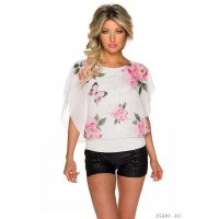 SWEET SHORT-SLEEVED CHIFFON SHIRT WITH FLOWER DESIGN...