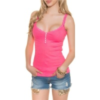 SWEET RIB-KNITTED STRAPPY TOP WITH LACE AND BUTTONS NEON-FUCHSIA Onesize (UK 8,10,12)