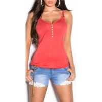 SWEET STRAPPY TOP WITH LACE AND BUTTONS CORAL