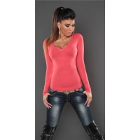 SUPER SOFT FINE-KNITTED SWEATER WITH V-NECK CORAL Onesize (UK 8,10,12)