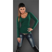 SUPER SOFT FINE-KNITTED SWEATER WITH V-NECK DARK GREEN Onesize (UK 8,10,12)