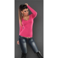 SUPER SOFT FINE-KNITTED SWEATER WITH V-NECK FUCHSIA Onesize (UK 8,10,12)