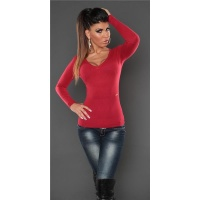 SUPER SOFT FINE-KNITTED SWEATER WITH V-NECK RED Onesize (UK 8,10,12)