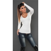SUPER SOFT FINE-KNITTED SWEATER WITH V-NECK WHITE