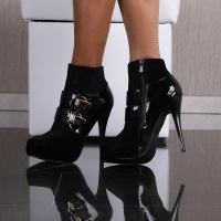 SEXY PLATFORM ANKLE BOOTS HIGH HEELS VELVET WITH BUCKLES BLACK UK 6.5