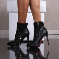 SEXY ANKLE BOOTS HIGH HEELS MADE OF VELVET AND IMITATION LEATHER BLACK UK 4