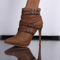 SEXY ANKLE BOOTS HIGH HEELS ARTIFICAL LEATHER WITH RIVETS...