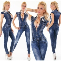SKINNY SLIM-FIT LADIES JEANS OVERALL JUMPSUIT USED LOOK...