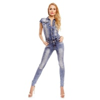 TAILLIERTER KURZARM JEANS OVERALL JUMPSUIT IN USED-LOOK BLAU