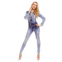 SEXY SKINNY LONG-SLEEVED JEANS OVERALL JUMPSUIT ACID-WASH...