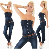 STRAPLESS LADIES JEANS OVERALL JUMPSUIT WITH BELT DARK BLUE
