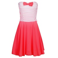 STRAPLESS A-LINE MINIDRESS WITH CHIFFON AND STRIPES...