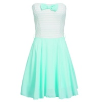 STRAPLESS A-LINE MINIDRESS WITH CHIFFON AND STRIPES MINT...