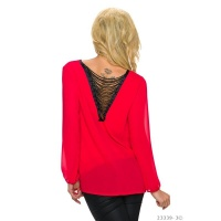 TRANSPARENT CHIFFON BLOUSE WITH CHAINS AT THE BACK RED
