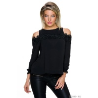 TRANSPARENT COLD SHOULDER CHIFFON BLOUSE WITH LACE BLACK