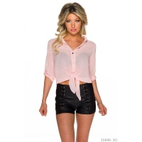 TRANSPARENT BELLY WRAP BLOUSE TO TIE MADE OF CHIFFON PINK