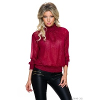 DREAMLIKE GLAMOUR CHIFFON BLOUSE WITH GLITTER THREADS WINE-RED