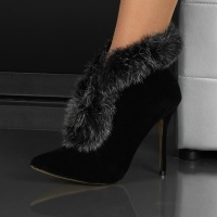 DREAMLIKE VELVET ANKLE BOOTS SHOES WITH FAKE FUR BLACK UK 5