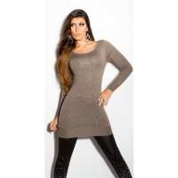 DIVINE FINE-KNITTED SWEATER WITH GLITTER AND RHINESTONES CAPPUCCINO