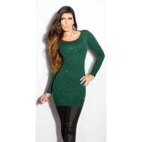 DIVINE FINE-KNITTED SWEATER WITH GLITTER AND RHINESTONES DARK GREEN