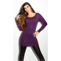 DIVINE FINE-KNITTED SWEATER WITH GLITTER AND RHINESTONES PURPLE