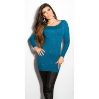 DIVINE FINE-KNITTED SWEATER WITH GLITTER AND RHINESTONES PETROL