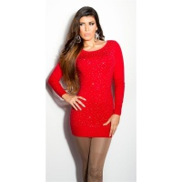 DIVINE FINE-KNITTED SWEATER WITH GLITTER AND RHINESTONES RED