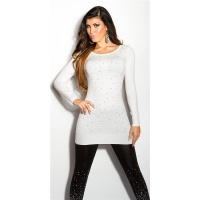 DIVINE FINE-KNITTED SWEATER WITH GLITTER AND RHINESTONES WHITE