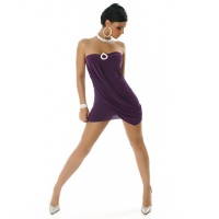 PRECIOUS STRAPLESS MINIDRESS WITH RHINESTONES PURPLE UK 10/12 (M/L)