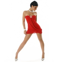 PRECIOUS STRAPLESS MINIDRESS WITH RHINESTONES RED UK 10/12 (M/L)