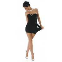 PRECIOUS STRAPLESS MINIDRESS WITH RHINESTONES BLACK