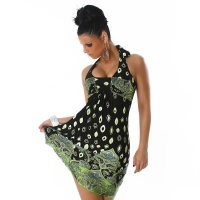 FANCY HALTERNECK DRESS BOLLYWOOD STYLE BLACK/GREEN UK 14