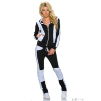 TRENDY BI-COLOUR CRAZY AGE JOGGING SUIT TRACKSUIT BLACK/WHITE