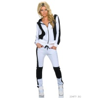 TRENDY BICOLOUR CRAZY AGE JOGGING SUIT LEISURE SUIT WHITE/BLACK UK 10 (S)