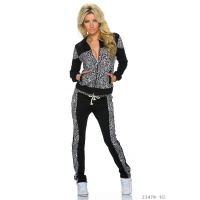 TRENDY CRAZY AGE JOGGING SUIT TRACKSUIT BLACK/LEOPARD UK 14 (L)