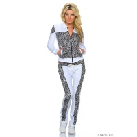 TRENDY CRAZY AGE JOGGING SUIT LEISURE SUIT WHITE/LEOPARD UK 10 (S)