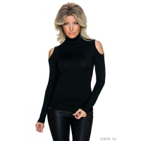 TRENDY LADIES FINE-KNITTED COLD SHOULDER SWEATER BLACK