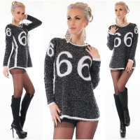 TRENDY LADIES LONG SWEATER MADE OF FANCY YARN BLACK/WHITE