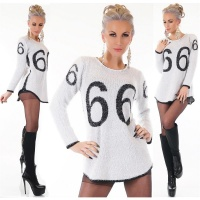 TRENDY LADIES LONG SWEATER MADE OF FANCY YARN WHITE/BLACK