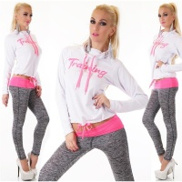 TRENDY FITNESS JOGGING SUIT LEISURE SUIT TRAINING WHITE/FUCHSIA UK 8 (S)
