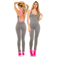 TRENDY FITNESS WORKOUT JUMPSUIT JOGGING SUIT GREY/FUCHSIA
