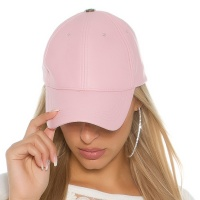 TRENDY LADIES CAP MADE OF SMOOTH IMITATION LEATHER PINK