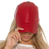 TRENDY LADIES CAP MADE OF SMOOTH IMITATION LEATHER RED