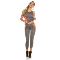 TRENDY 2 PCS SPORT SET FITNESS YOGA JOGGING GREY/NEON-CORAL